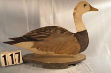 Blue Goose by Ben Schmidt, Wooden Silhouette, Original Paint on Both Sides, These Decoys were used in Saginaw Bay and In the Fields, C. 1930s A Rare Find In this Condition