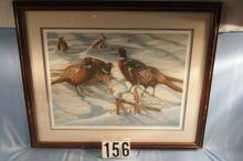 Framed & Matted Ringneck Pheasant Print by Sharon Anderson C. 1985, Artist Proof # 34/35