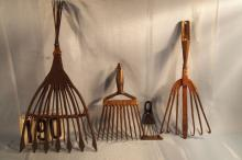 Four Vintage Spear Heads, Hand Forged Cast Iron, 13 Tine, 4 Tine, 7 Tine,