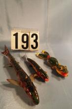 3 Jointed Fish Spearing Decoys by Bud Stewart, Lizzard 6.5