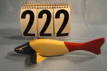 Fish Spearing Decoy Hand Carved & Painted by James Stangland, Metal Fins & Wooden Tail, 7.5