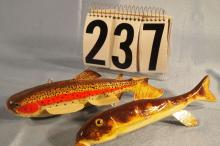 2 Fish Spearing Decoys by Marcel Meloche, Trout 7.5