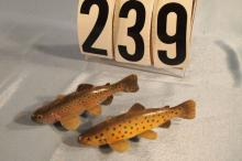 2 Fish Spearing Decoys by Marcel Meloche, Rainbow Trout 4.5
