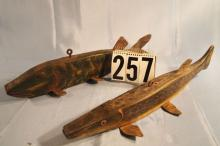 2 Primitave Hand Carved Fish Spearing Decoys, 1 Pike 20