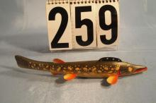 Fish Spearing Decoy Cadillac Style, Hand Carved & Painted, Nicely Done, Weighted, Metal Fins, Wooden Tail, Peterson Influence, 8