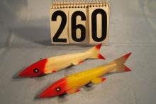 2 Fish Spearing Decoys, Attribuited To Randall, Weighted, Metal Fins and Tail, 1 With Tack Eyes, One with Painted Eyes, Both are 7