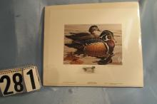 1983 Michigan Duck Stamp Print, Wood Ducks by Rod Lawrence 788/950 With Stamp and Seal on Back of Packaging