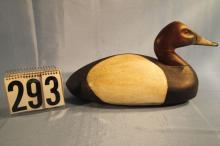 Canvasback Drake Duck Decoy, Solid Body, Michigan Carver, C.1930s