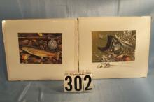 2 Michigan Trout Stamp Prints, 1981 Trout Stamp by Rod Lawrence # 199/450, 1980 Trout Stamp by Cawrence Cory # 228/450