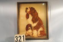 Original Print of Spaniel Mother and Puppy Signed Ho Kopland