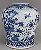 Antique Chinese Porcelain Blue White Jar Flying Birds