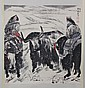 Chinese Pen & Ink Scroll Painting Women Riding Buffaloe