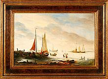 LEICKERT, Charles (1816-1907) - Rivierlandschap in Holland - Sea view with fishers and vessels