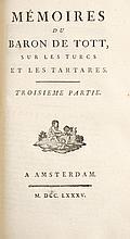 TOTT, François de - Mémoires du baron de Tott, sur les Turcs et les Tartares