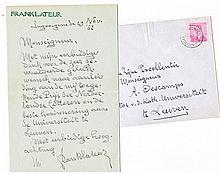 STREUVELS Handgeschreven gesigneerde brief en envelop aan Zijne Excellentie Monseigneur A. Descamps Recht Kath. Univ. Leuven