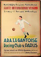 [AFFICHE - GENT] A.R.A. La Gantoise - R.C. Van Parijs op het stadium te Gentbrugge (1948)