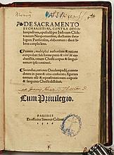 CLICHTOVEUS, Judocus De sacramento eucharistiae, contra Oecolampadium, opusculu[m]