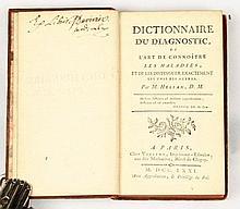 HELIAN Dictionnaire du diagnostic ou l'art de connoître les maladies, et de les distinguer exactement les unes des autres