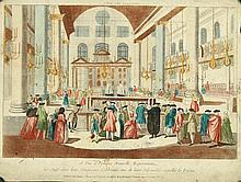 [VUE d'OPTIQUE] SINAGOGUE 15e Vue d'Optique Nouvelle, Représentant les Juifs dans leur Sinagogue, Célébrants une de leurs Solemnités appellée le Purim