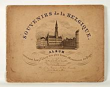 [ALBUM BELGIQUE] Souvenirs de la Belgique, album contenant douze vues des plus beaux monuments du pays et un plan de la ville de Bruxelles