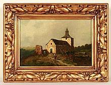 [19de EEUW] Landschap met vervallen kerkje en landweg