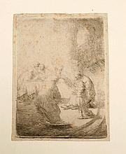 REMBRANDT VAN RIJN Christ disputing with the doctors: small plate