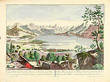 [VUE d'OPTIQUE LAC DE GENEVE] Veue de superieure part du Lac de Geneve, à Chardone pres de Vivis