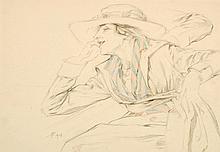 PRIVAT LIVEMONT, Henri (1871-1944) Femme élégante assise