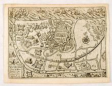 [OOSTENDE] Eicon urbis Ostenda primis ab Alberto Archiduce castris & Munitionibus obsessa. A° 1601 - Zeeslag voor Vlaamse kust