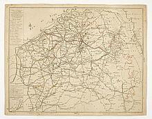 [POSTKAART] Carte générale correspondante aux cartes particulieres comprenant les tenances et routes des Postes dans les PB Autrichiens