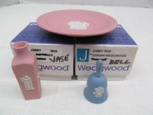 3 Pieces Miniature Wedgwood Pieces ~ Vase ~ Plate ~ Bell