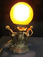 Vintage Art Deco / Art Glass Amber Glass Ball Lamp 11 1/2