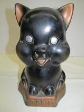 Vintage Black Pig Chalk Piggy Bank