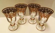Set of 4 Arte Italica Crystal Goblets w/Gold Trim ~ 5 5/8