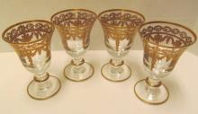 Set of 4 Arte Italica Crystal Goblets w/Gold Trim ~ 5 1/2