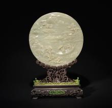 A CELADON JADE CARVING OF 'LANDSCAPE' TABLE SCREEN ,  QING DYNASTY
