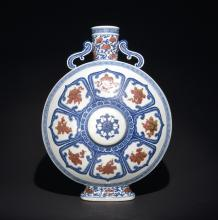 A BLUE AND WHITE IRON-RED MOONFLASK ,  MARK AND PERIOD OF QIANLONG