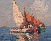 Merio Ameglio Italien 1897-1970. Båtar. Signerad