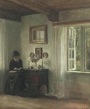 Carl Holsöe Danmark 1863-1935. Interiör med