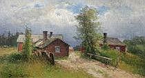 Severin Nilson 1846-1918. Halländsk gårdsvy.