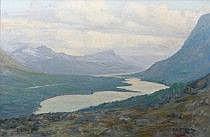 Nils Olzon 1891-1953. Fjällandskap. Signerad Nils