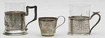 Teglashållare, två stycken samt kopp Silver. Den