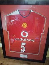 Signed & Framed Manchester United Football Shirt by Rio Ferdinand (Vodaphone)
