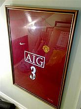 Signed & Framed Manchester United Football Shirt by Patrice Evra
