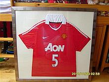 Signed & Framed Manchester United AON Football Shirt by Rio Ferdinand