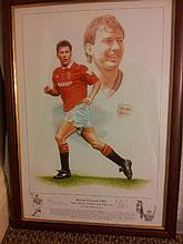 Limited Edition Football Print Signed by Bryan Robson and Artist