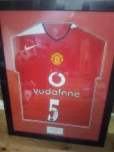 Signed & Framed Manchester United Football Shirt by Rio Ferdinand (Vodaphone)