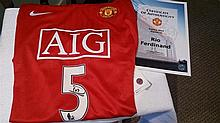 Rio Ferdinand signed shirt. Authenticated by David Gill