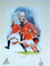 Manchester United ex player Jaap Stam signed football print.