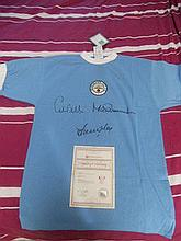 Manchester City Legends Shirt - Signed by Bell, Summerbee and Lee.